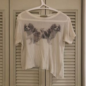 WILDFOX WHITE DOG BOX STRETCH COTTON TEE 🐶🐶
